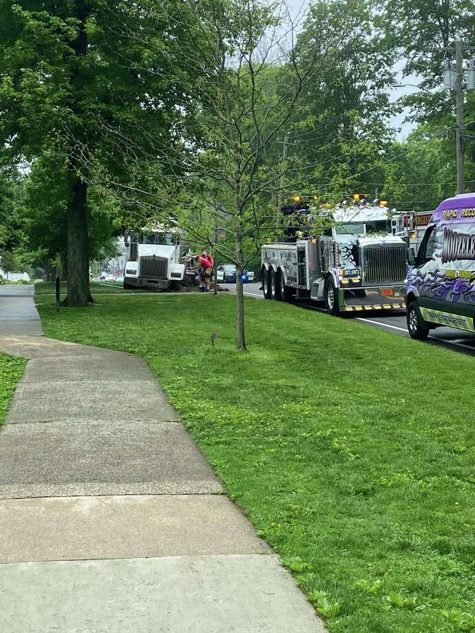 Main Street is closed from Branchville Road to Market Street following a Friday morning accident involving a septic system truck near King Lane. Photo: Contributed Photo / Steve Coulter