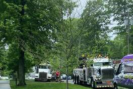 Main Street is closed from Branchville Road to Market Street following a Friday morning accident involving a septic system truck near King Lane.