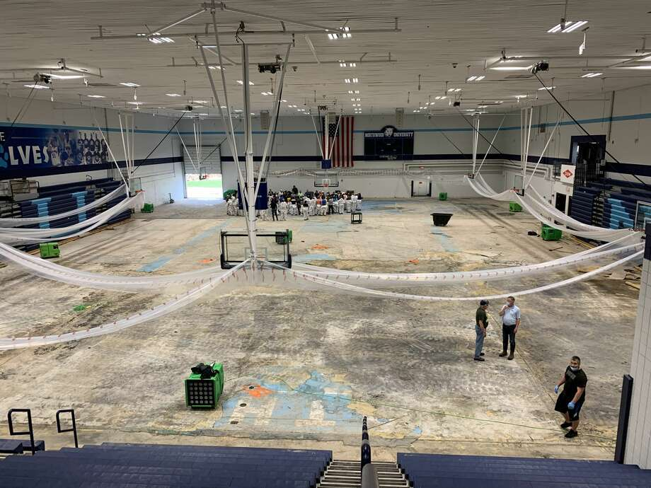 Riepma Arena's torn-up gym floor is seen inside Northwood's Bennett Center on Friday, May 29. Photo: Fred Kelly/fred.kelly@mdn.net
