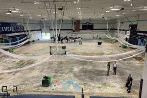 Riepma Arena's torn-up gym floor is seen inside Northwood's Bennett Center on Friday, May 29.