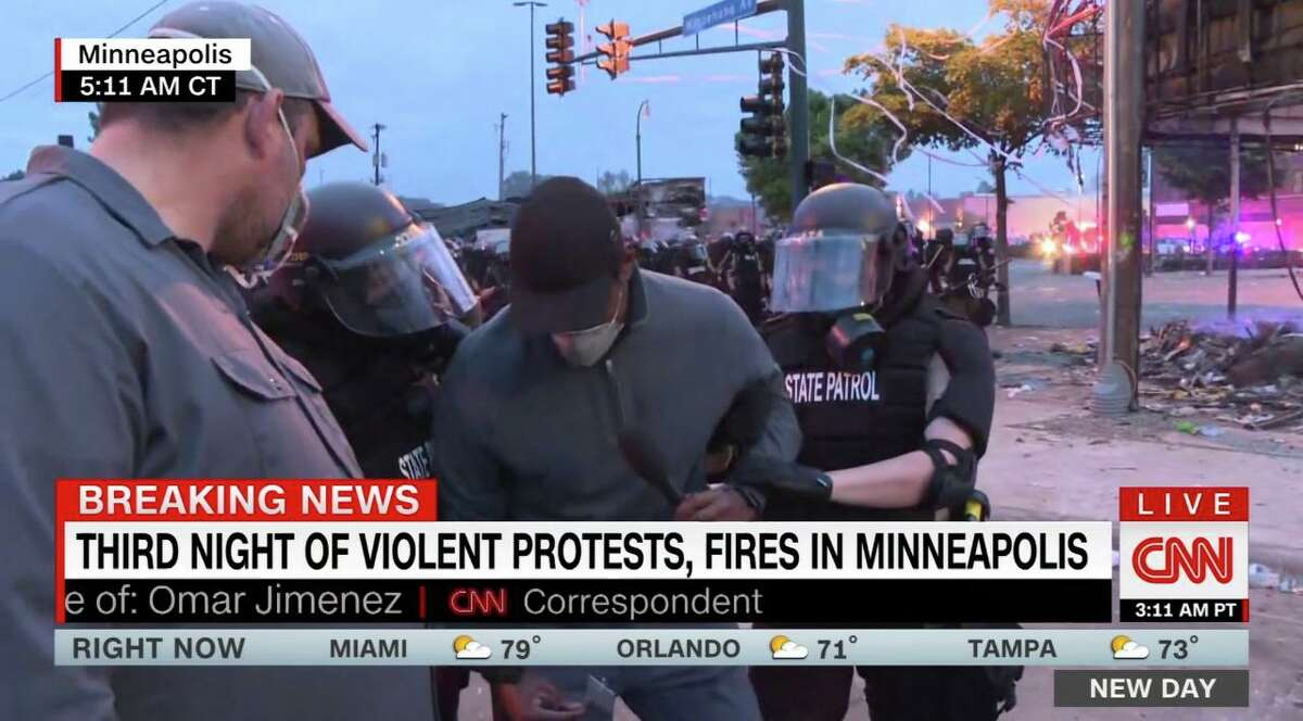 A screenshot of the CNN live footage of CNN correspondent Omar Jimenez being arrested while covering protests in Minneapolis, Minn., on Friday, May 29, 2020.