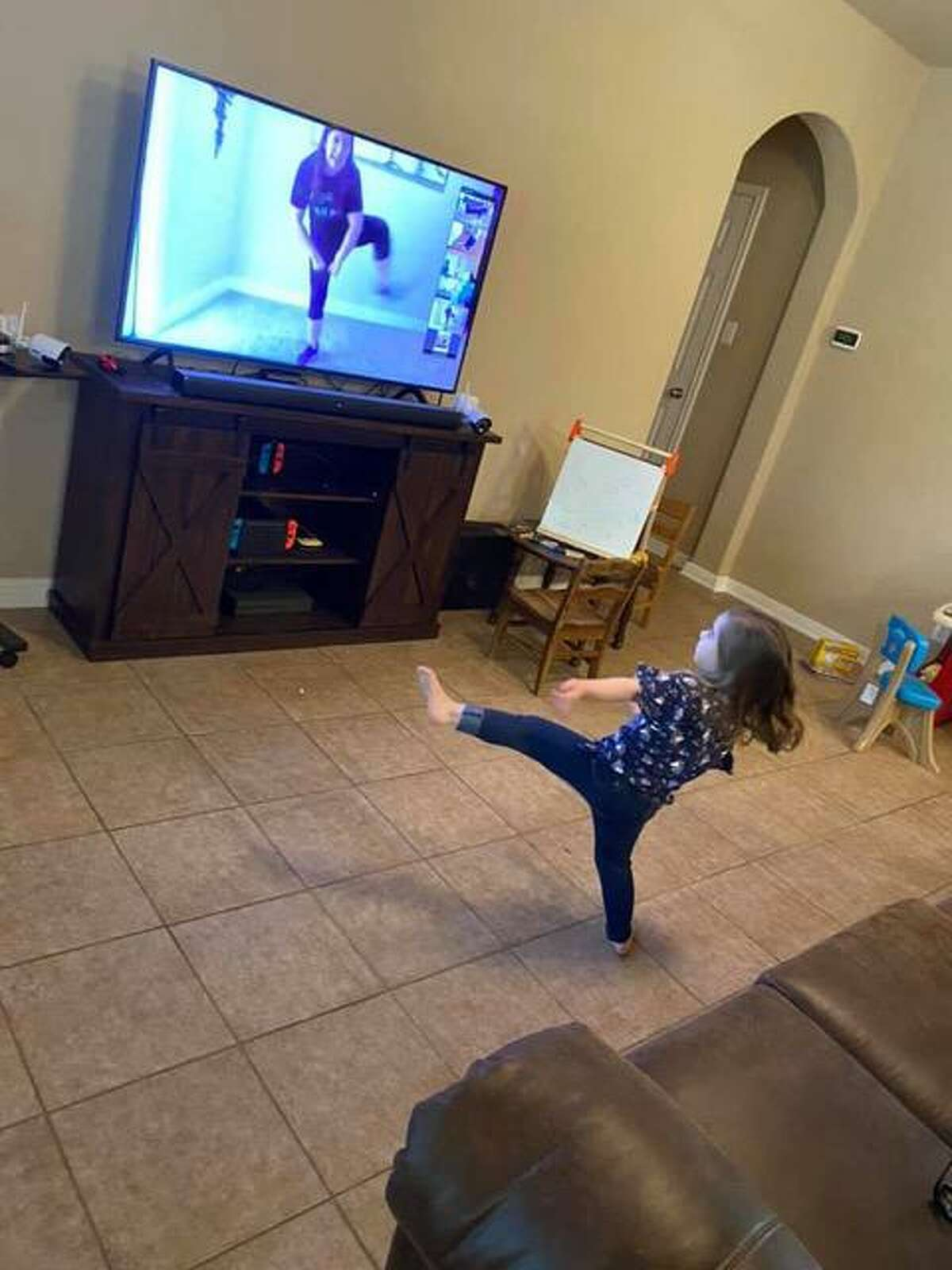 Lorelai Hoadley, 3, takes an online dance class with Courtnie Mercer as part of The Public Theater of San Antonio's virtual education program, which will include summer camps.