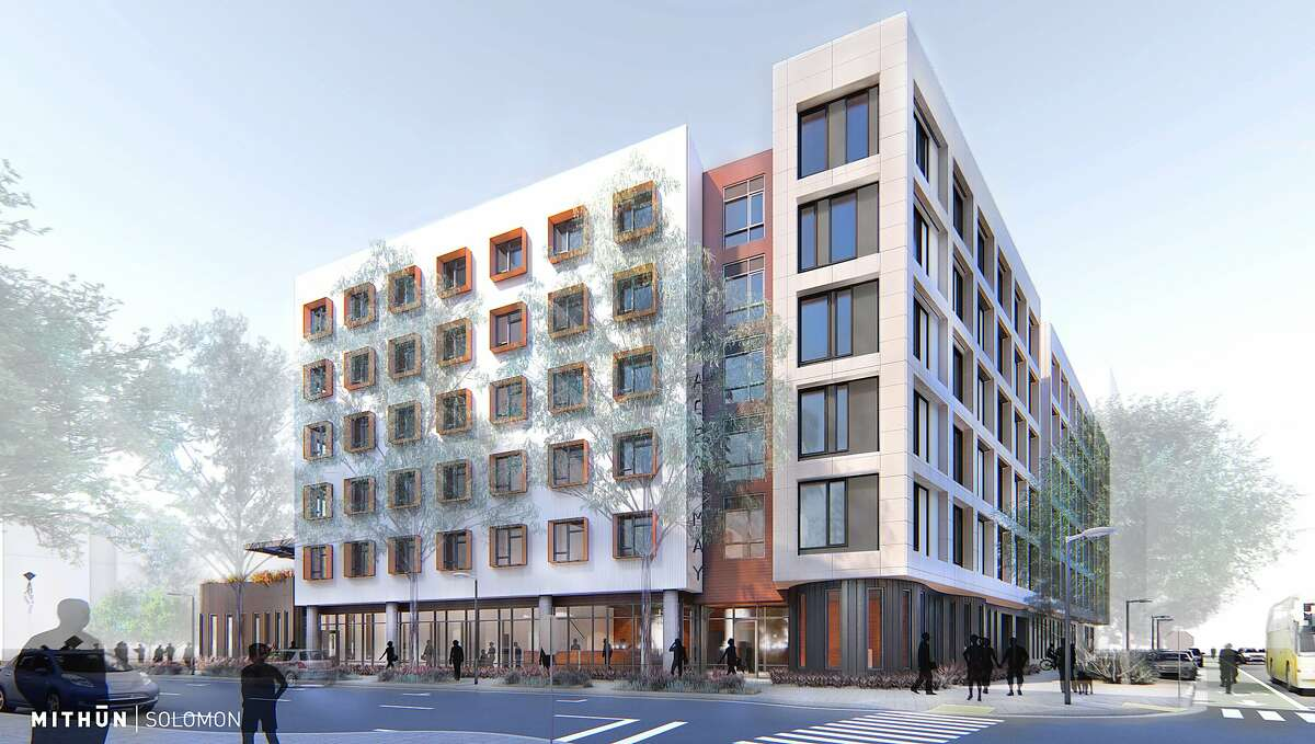 A rendering of the future Maceo May affordable housing complex on Treasure Island