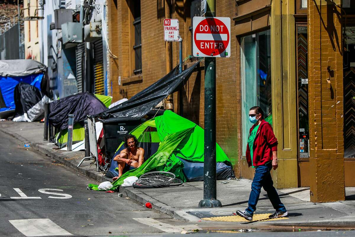 Tents are lined on Willow Street in the Tenderloin on Wednesday, May 6, 2020 in San Francisco, California.