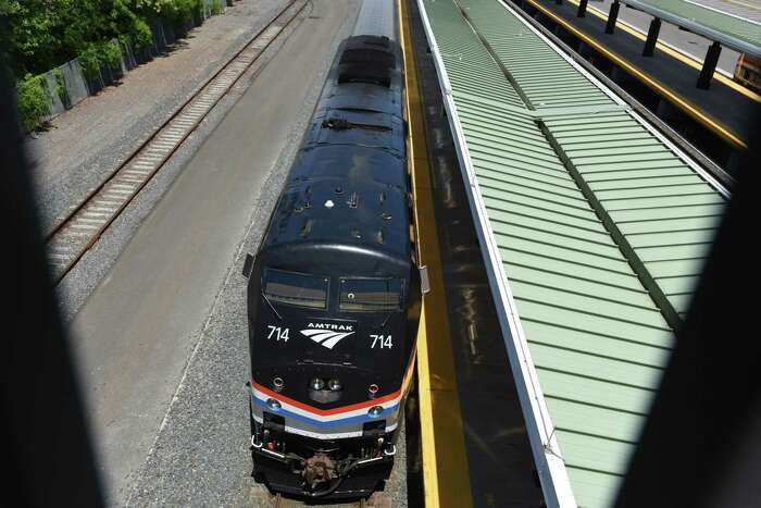 A southbound Amtrak train pulls into the Albany-Rensselaer train station on Friday, May, 29, 2020, in Rensselaer, N.Y. Amtrak is considering seat assignments as a strategy to keep people socially distant. (Will Waldron/Times Union)