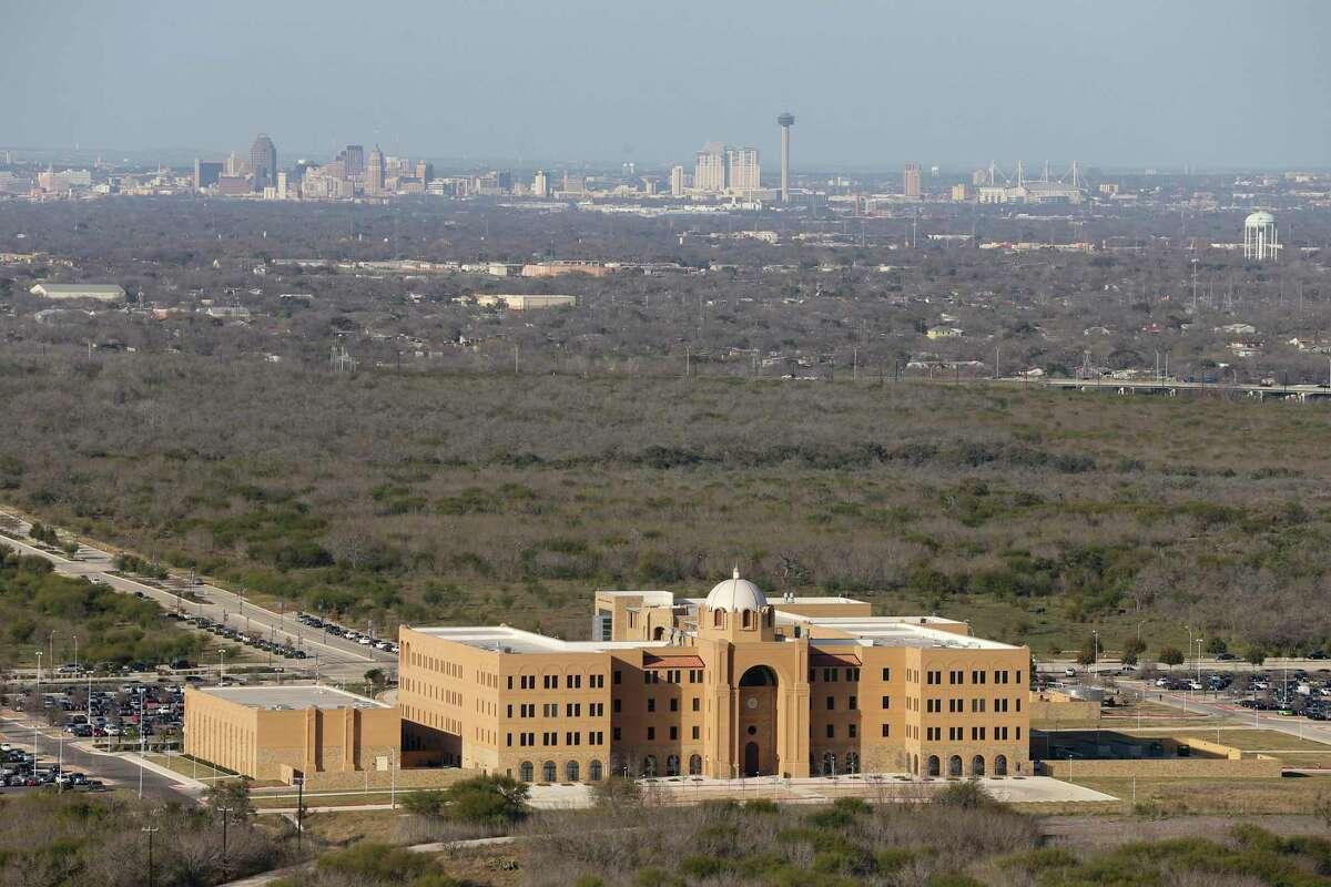 The San Antonio skyline is visible from the Texas A&M University-San Antonio campus in south San Antonio, Thursday, Feb. 18, 2016.
