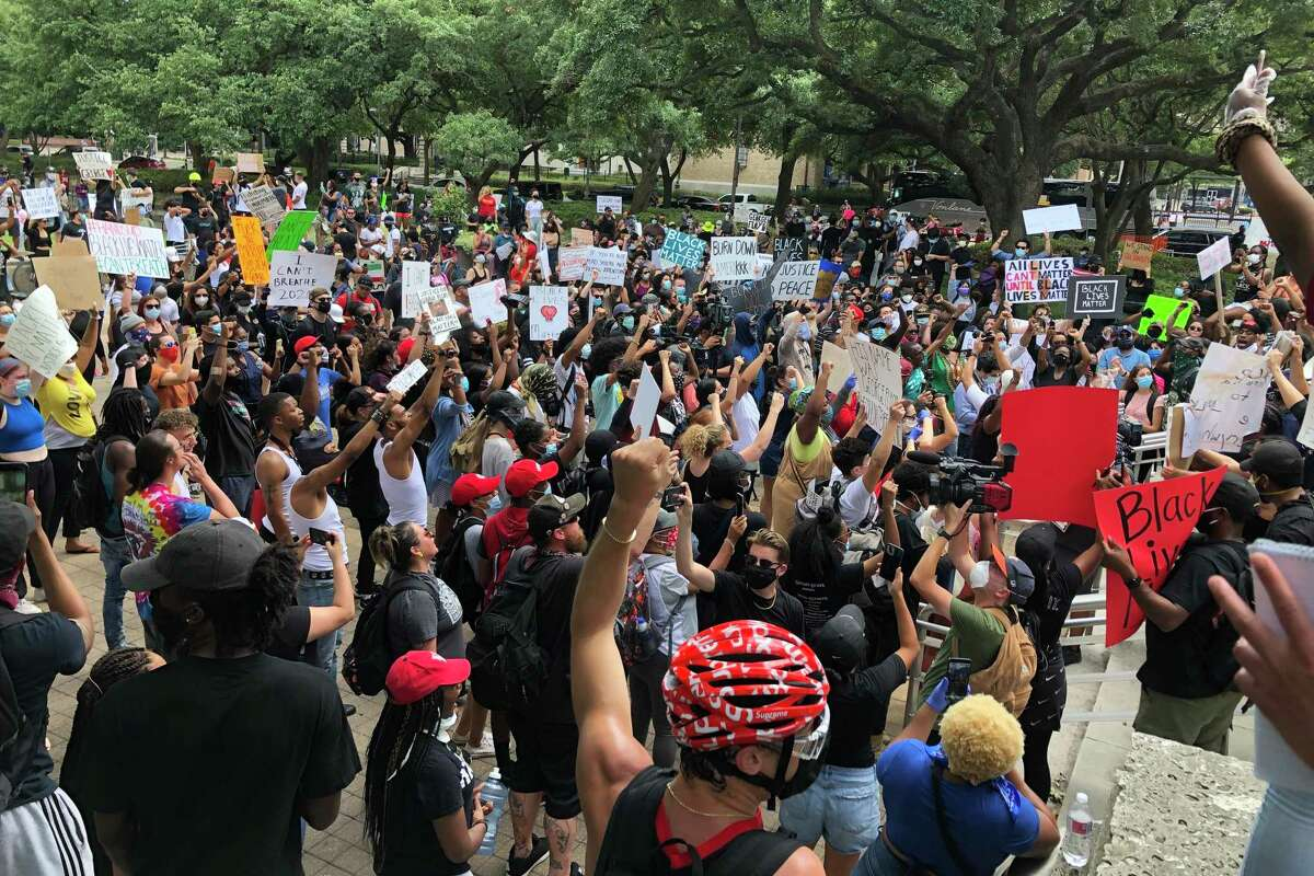 Black Lives Matter Houston remembers George Floyd during a protest at City Hall, Friday May 29, 2020, in Houston. Floyd, originally from Houston's Third Ward, died in the custody of Minneapolis police earlier this week, setting off protests across the country.