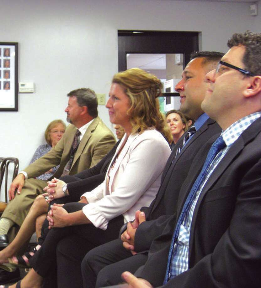 In this 2018 file photo, Kiersten Saenz, principal of Glen Carbon Elementary School, sits at a District 7 meeting.
