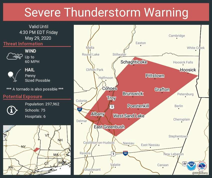The National Weather Service in Albany issued a severe thunderstorm warning for eastern Albany County, including Albany and Cohoes, as well as much of western Rensselaer County on Friday afternoon. The warning is in place until 4:30 p.m.