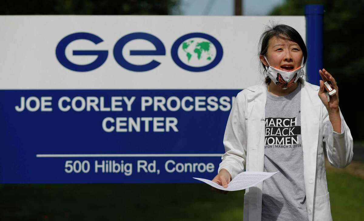 Dr. Dona Kim Murphey speaks before reading a letter from an immigrant epidemiologist and a nurse detained at the Joe Corley Detention Facility, Friday, May 29, 2020, in Conroe. Physicians with Doctors for America and immigrant rights activists began a 24-hour vigil in front of the facility to demand the release of detained asylum seekers, refugees, and nonviolent immigrants to prevent the spread of COVID-19. Texas is the state with most confirmed COVID-19 cases of immigrants confined in Immigration and Custom Enforcements' detention centers, official counts indicate.