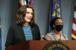 Gov. Gretchen Whitmer and MDHHS Chief Deputy for Health and Chief Medical Executive Dr. Joneigh Khaldun provided an update May 28 on COVID-19 in Michigan. (Courtesy photo/Office of the Govenor)