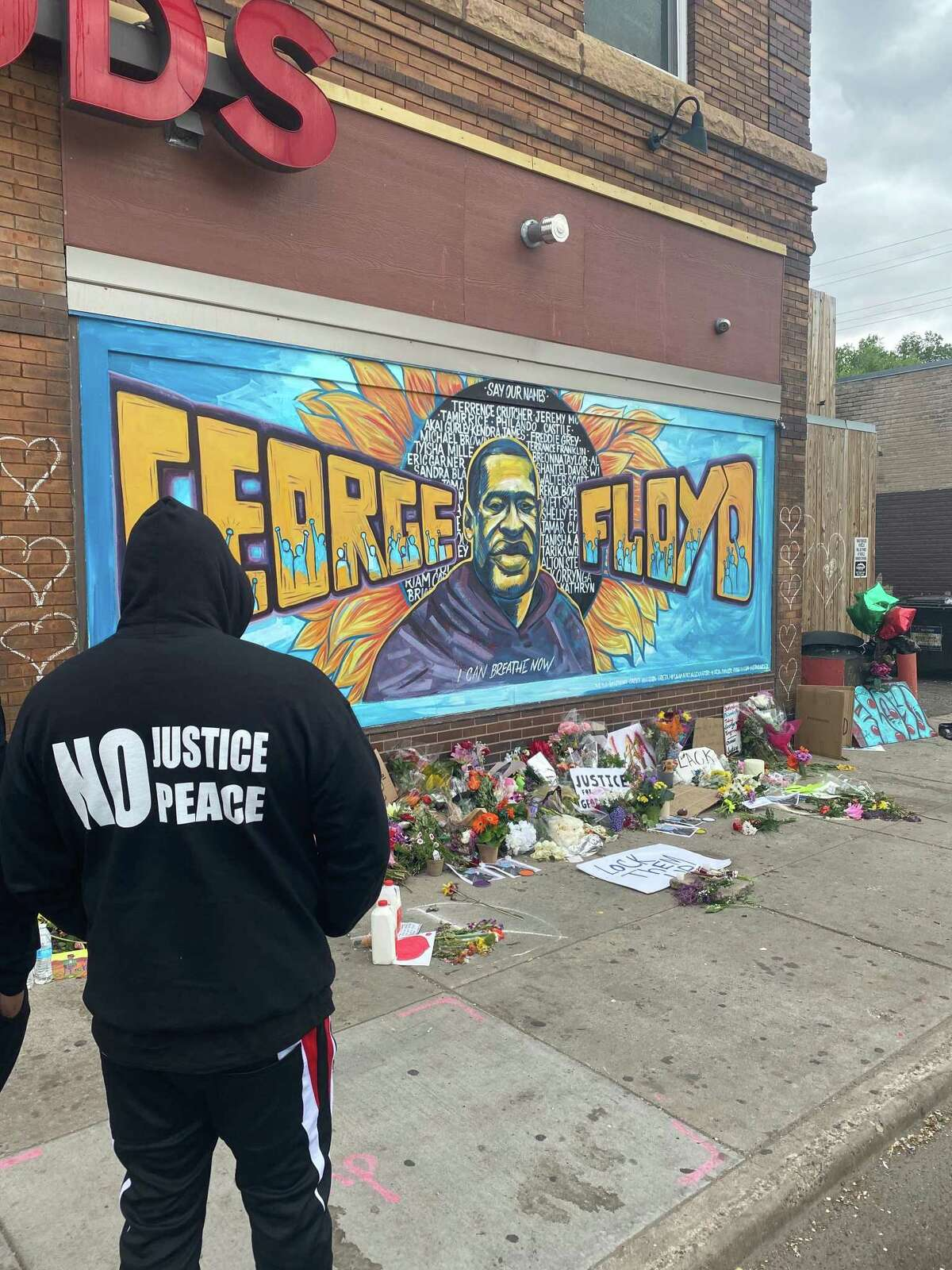 Trae Tha Truth, on Friday, May 29, 2020, standing at the spot where George Floyd was killed in Minneapolis.