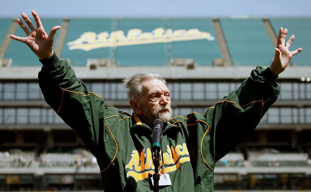 Oakland Athletics announcer Roy Steele was honored for his years of service during pre-game program with is own bobble head. Saturday, April 17, 2010, at the Oakland Coliseum in Oakland Ca.