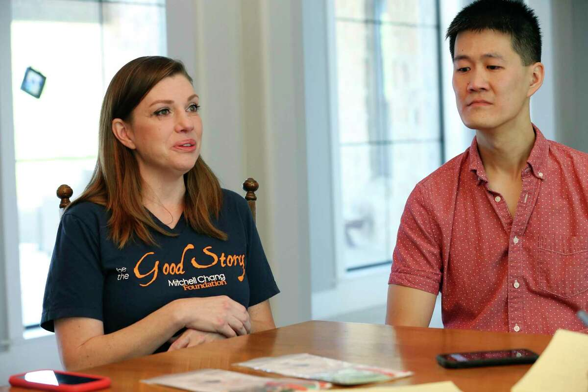 With her husband, Dr. Marvin Chang, 38, by her side, April Chang, 40, recounts the story of her son's death. Mitchell was 3 when he drowned in 2018.