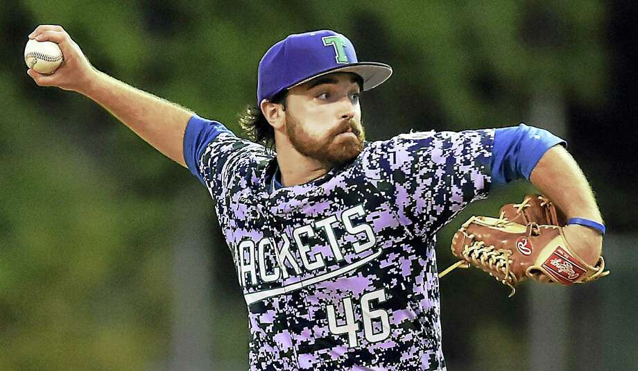 Thermaxx Jackets pitcher Brian Caselli threw a no-hitter, defeating Flanagan Associates, 3-0, in the Bob Greenwood Tournament, Friday, July 22, 2016, in the West Haven Twilight League at QuigleyStadium. (Catherine Avalone/New Haven Register) Photo: Catherine Avalone / Journal Register Co. / New Haven RegisterThe Middletown Press