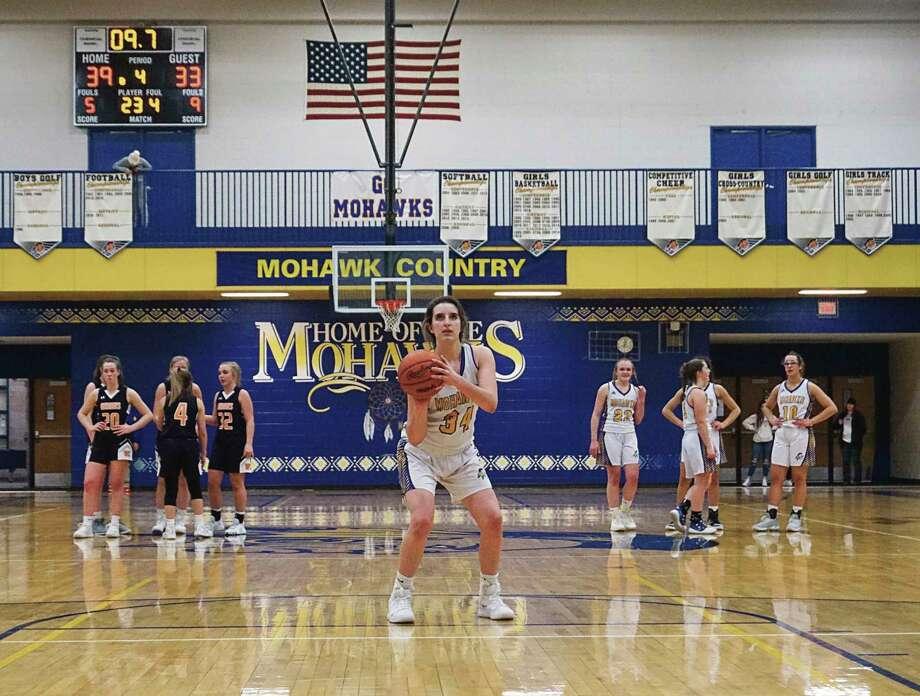 Morley Stanwood senior Brooke Brauher is a member of three Mohawk varsity teams. (Pioneer file photo/Joe Judd)