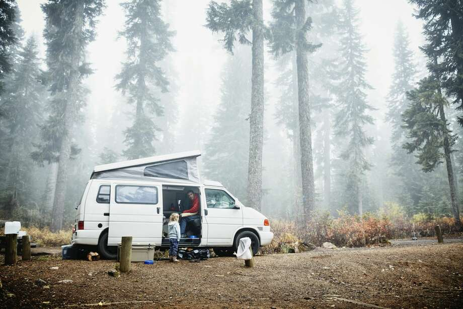 "RV campers can go ""boondocking"" in Class B camper vans, which means staying overnight in remote spots and relying on the vehicle's systems. Photo: Thomas Barwick/Getty Images / Thomas M. Barwick INC"