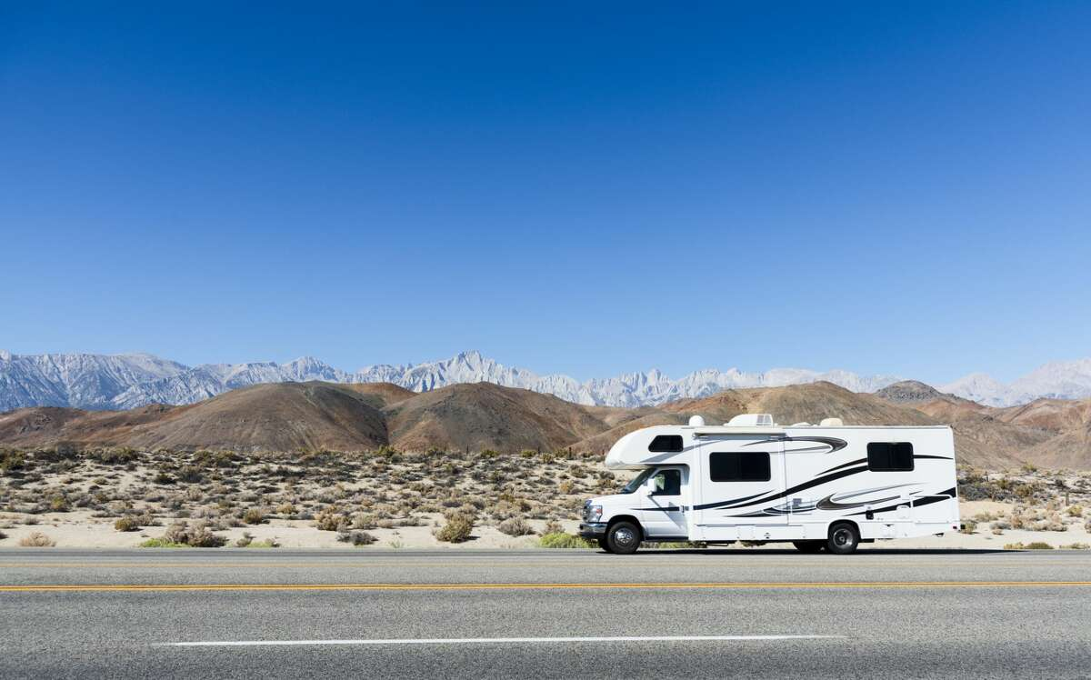 Hitting the road in a self-contained, self-sanitized RV is on the upswing this summer. Pictured: a Class C motor home.
