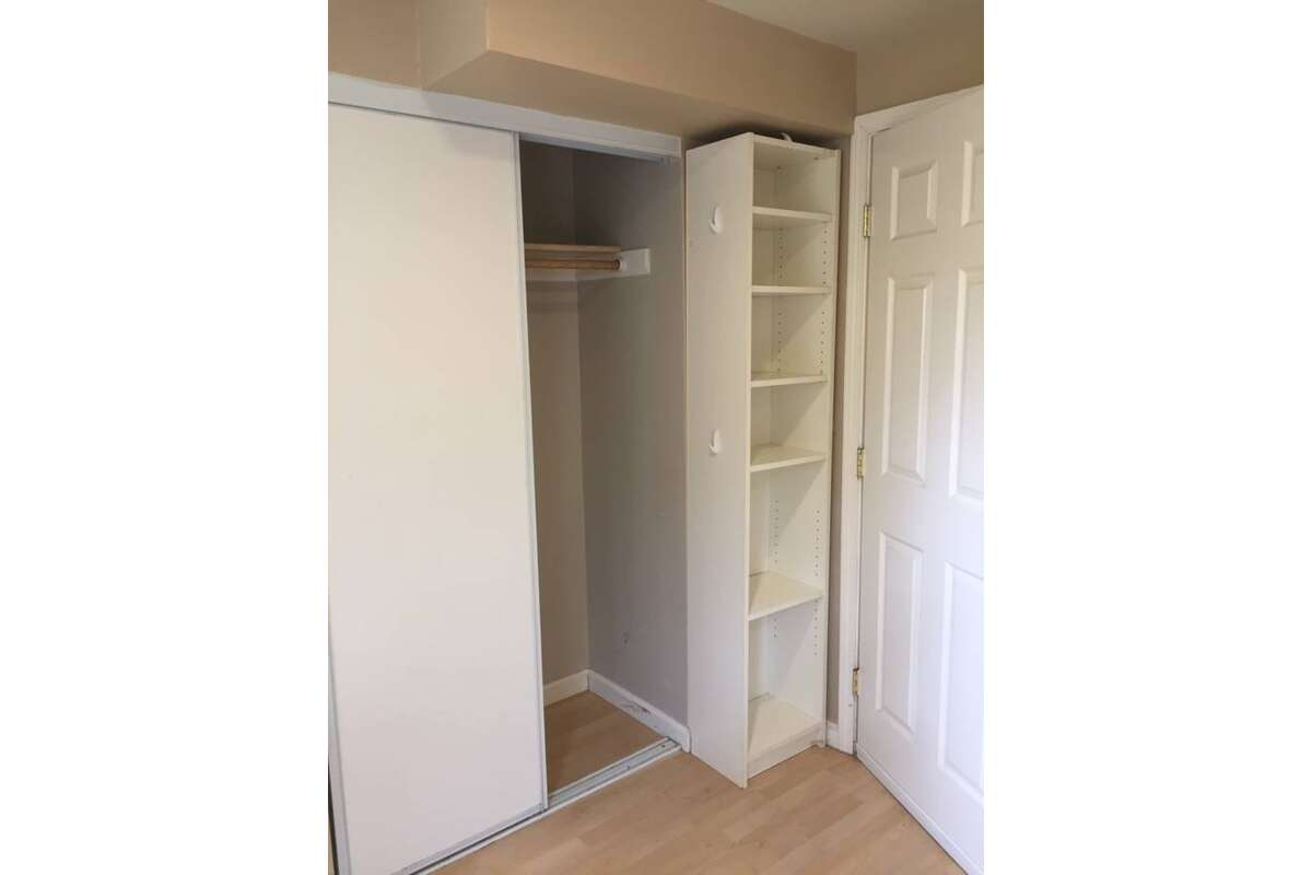 There is one small closet, recessed lighting and hardwood floors.
