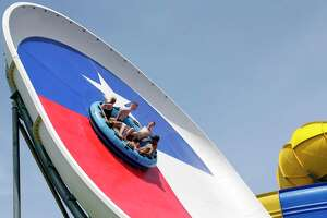 Bring your 2020 Six Flags Hurricane Harbor Splashtown season pass to Typhoon Texas to receive a pass there for the remainder of the season. A purchase of a 2021 Typhoon Texas pass is required. Here, customers enjoy the Monster Storms water ride as the Typhoon Texas on Friday, May. 29, in Katy.