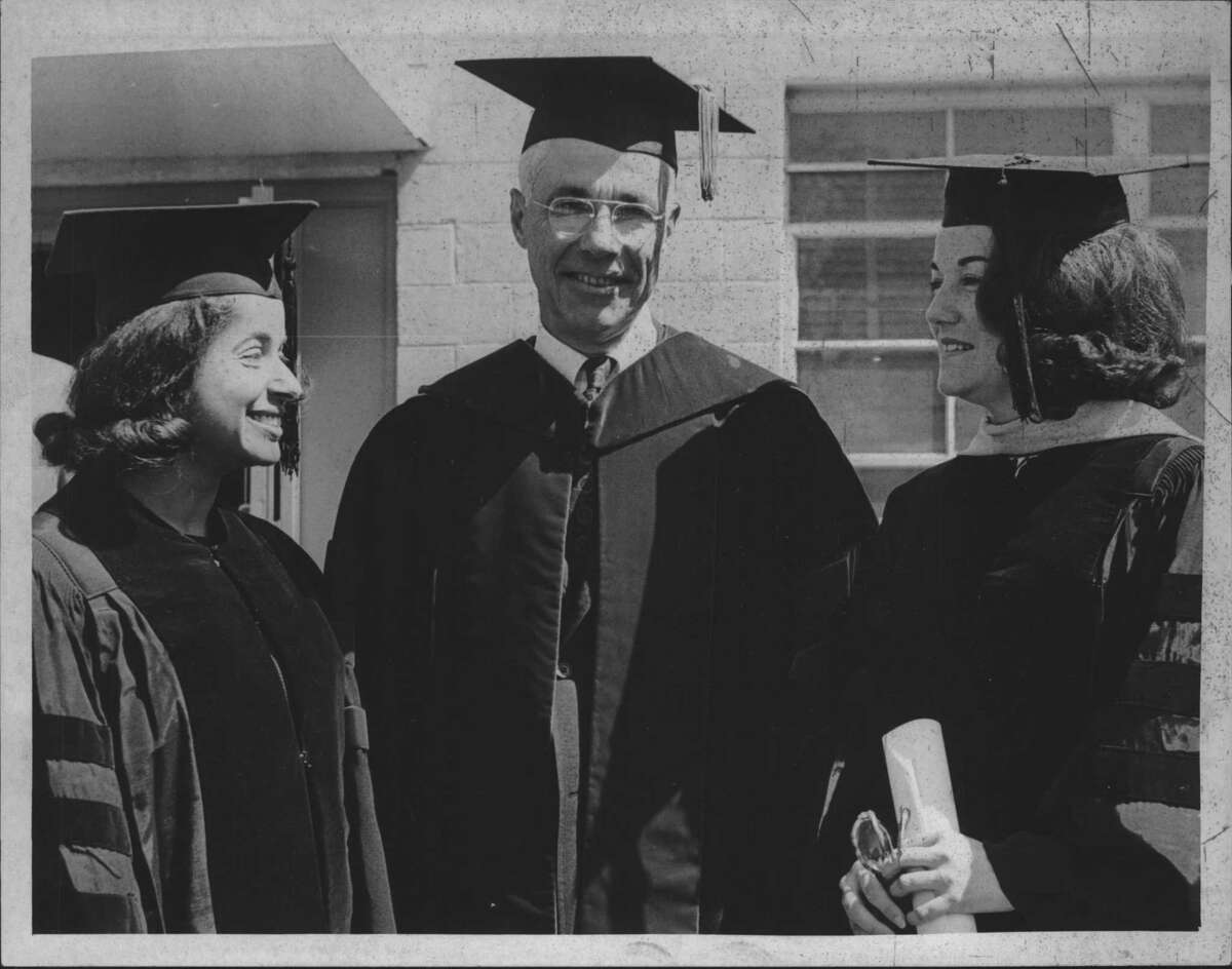 New York - Miss Elizabeth Hanford, Executive Director, ... Committee on commencement; Dr. Lewis A. Froman, President of Russell Sage College; Mrs. Patricia Harris, former Ambassador to Luxembourg. Undated (Joe Higgins/Times Union Archive)