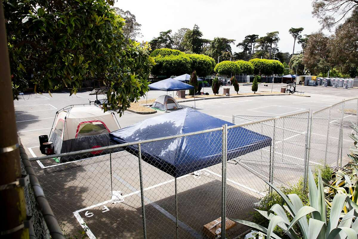 San Francisco's second Safe Sleeping Village is set up at the corner of Haight Street and Stanyan Street on Friday, May 29, 2020.