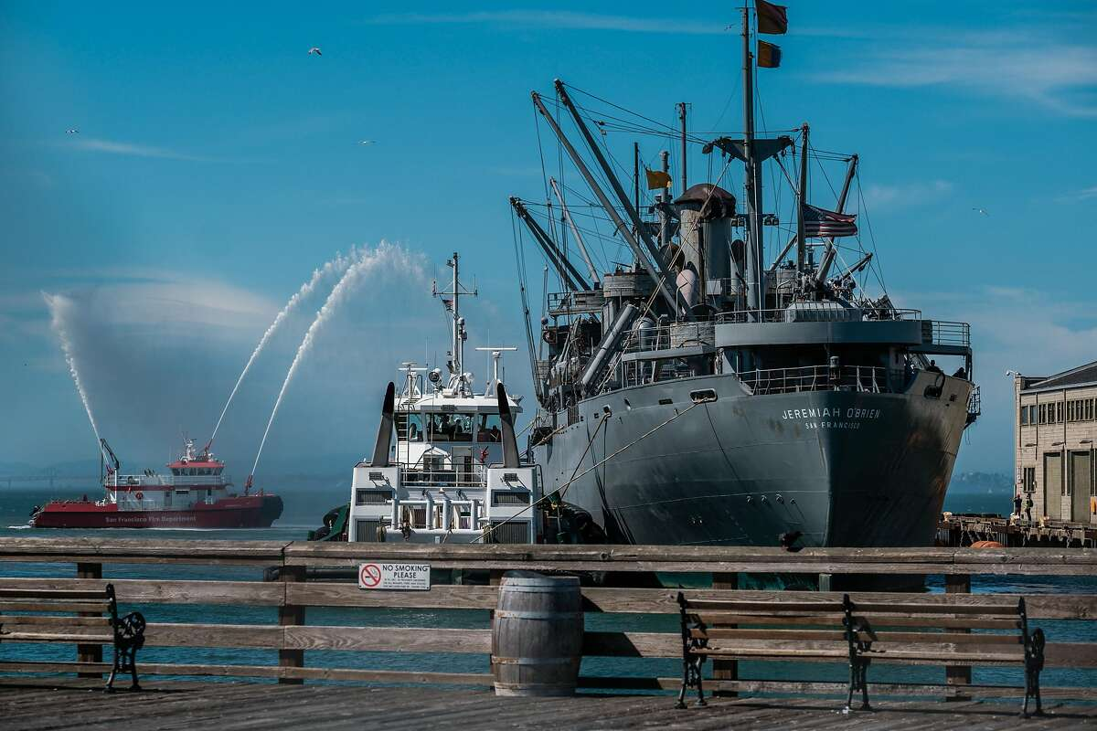 The SS Jeremiah O'Brien docks at Pier 35 after a massive fire destroyed Pier 45 early last Saturday in San Francisco on Tuesday, May 26, 2020.