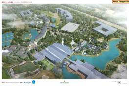 These concept plans officials from the Howard Hughes Corp. show the company's conceptual plans for The Woodlands Resort. A representative from the company told members of the Municipal Utility District 6 board that the plans had been put on hold indefinitely. The preliminary plans included residential housing, an events pavilion, a fitness center and spa as well as a new access driveway into the residential complex from the southbound lanes of Grogan's Mill Road.