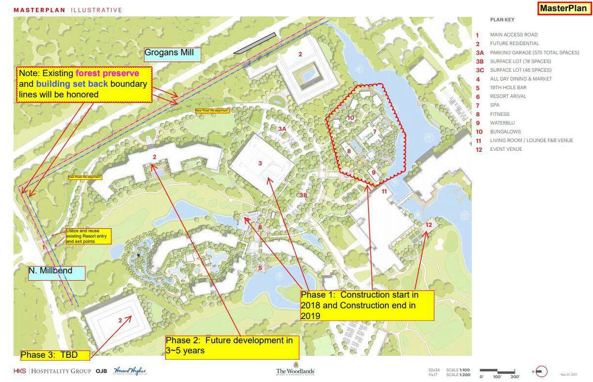 These concept plans officials from the Howard Hughes Corp. submitted to The Woodlands Township Development Standards Committee in June 2018 show the company's conceptual plans for The Woodlands Resort. A representative from the company told members of the Municipal Utility District 6 board that the plans had been put on hold indefinitely.