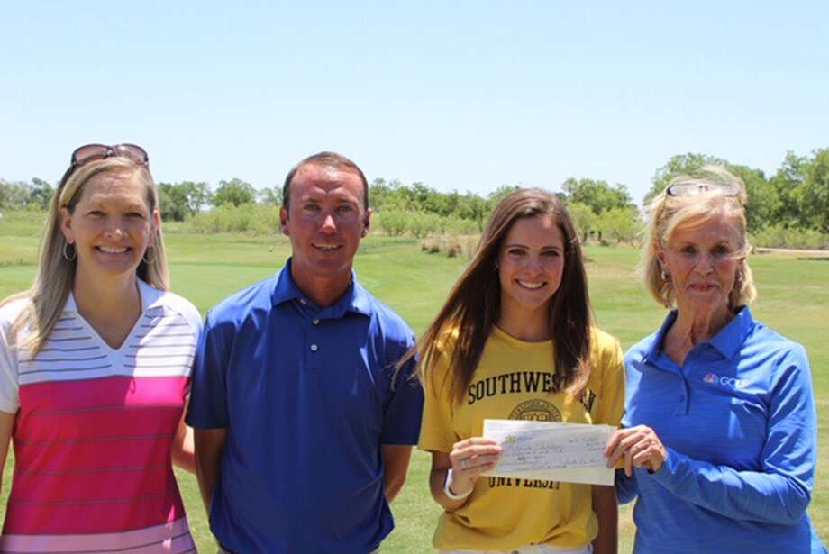 Former Midland High golfer Mikayla Childers, second from right, is presented a grant from the JTR Suitcase Fund. From left, JTR Suitcase Fund Director of Projects and Giving Paula Bettis, Midland Country Club head golf professional Evan Dunkerson, Childers, and Judy Rankin. Photo: Courtesy Photo