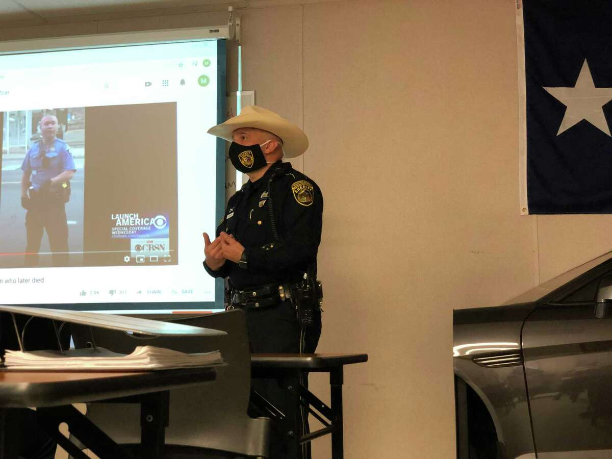 Bexar County Sheriff Javier Salazar addresses deputies who are training to become law enforcement officers on the importance of stopping police misconduct during a class at the Bexar County Sheriff's Academy in Atascosa on Friday.