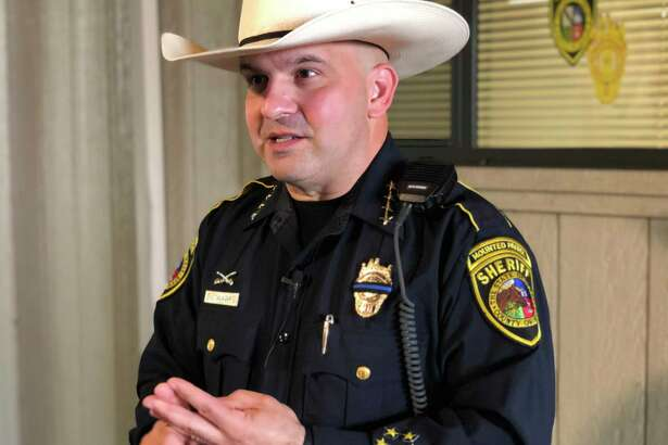 Bexar County Sheriff Javier Salazar addresses the media after speaking to a class of aspiring law enforcement officers at the Bexar County Sheriff's Academy in Atascosa on Friday.