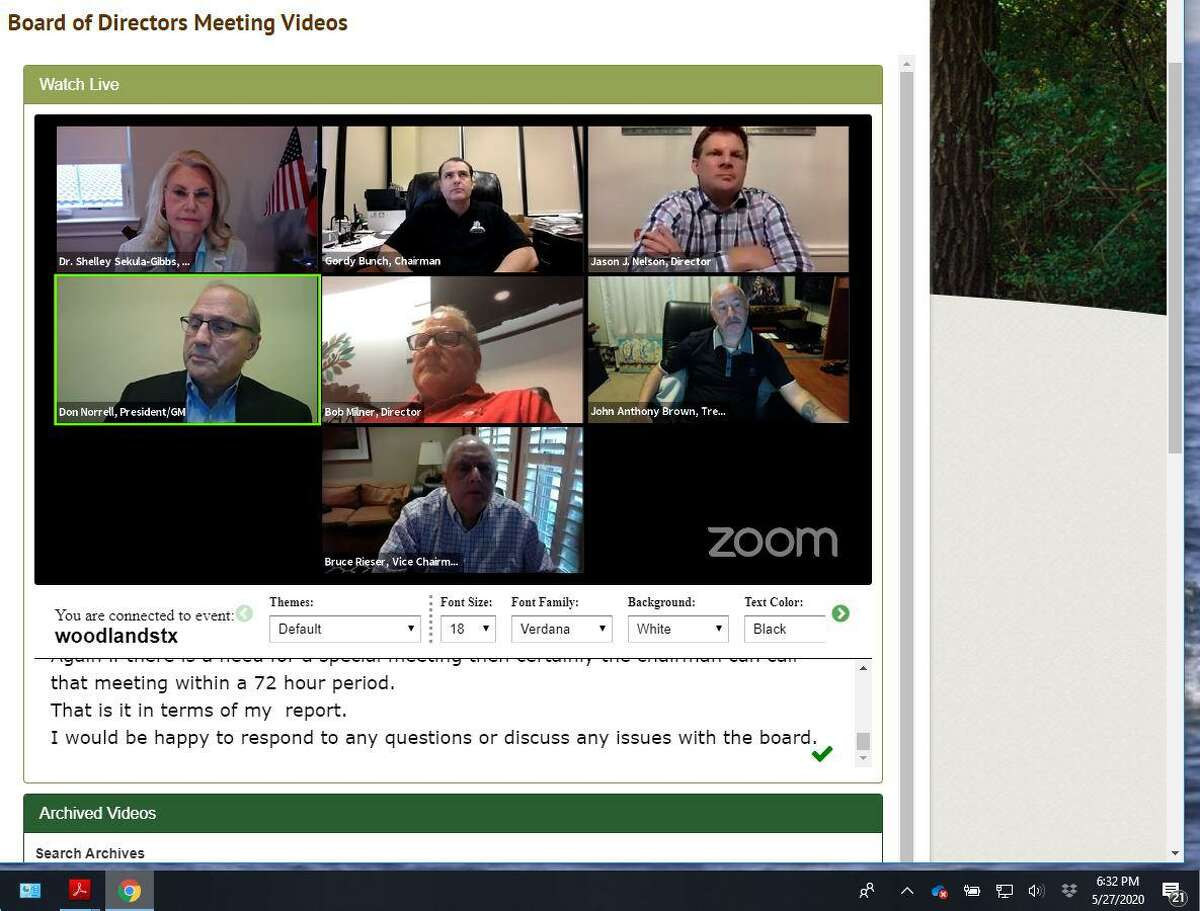 The Woodlands Township Board of Directors is expected to continue hosting online meetings via Zoom through the month of June.