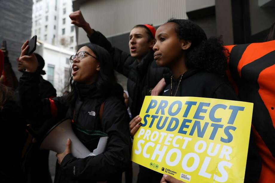 Students from Oakland Tech High School protest in support of teachers last year. Photo: Yalonda M James /The Chronicle 2019