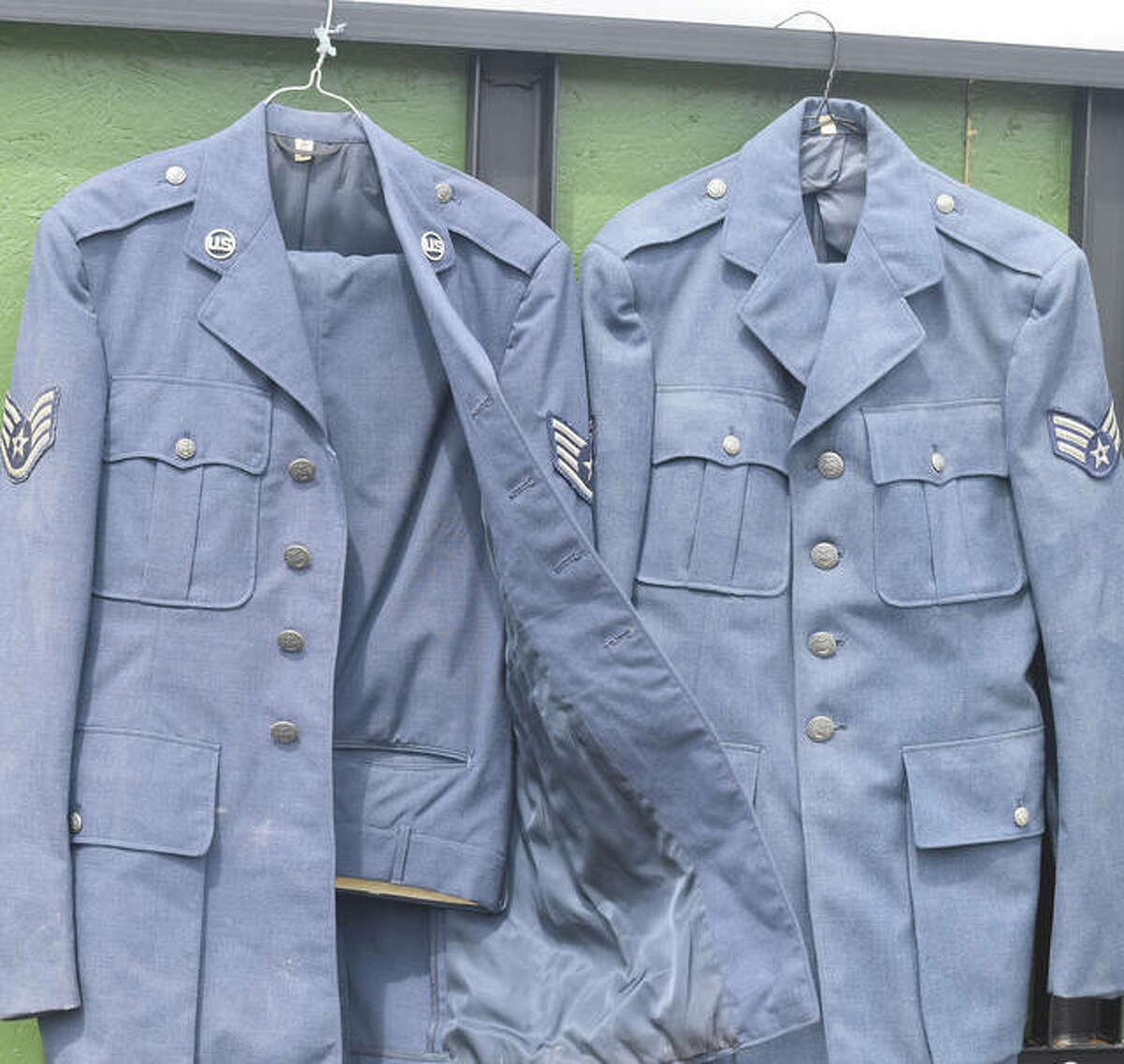Two military uniforms were found in an unoccupied building in Jacksonville.