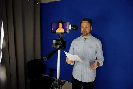 Don Jeanes films an audition tape in his Woodlands home, Thursday, May 28, 2020. Jeans has been featured in numerous ads but most famously was featured in a Budweiser commercial for three straight Super Bowls.