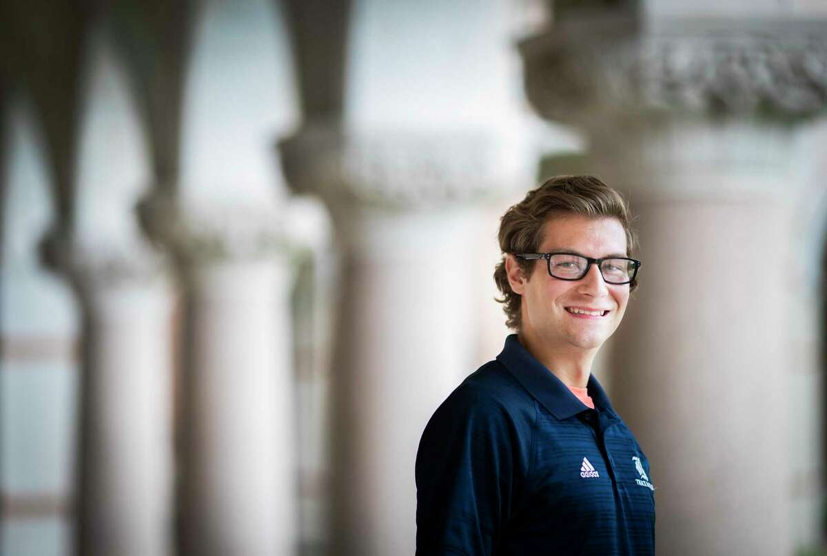 Adolfo Carvalho, 23, stands by the Lovett Hall at Rice University on Thursday, May 28, 2020, in Houston. Carvalho has been given a Fulbright Research Award to conduct research on protoplanetary disks in Santiago, Chile.