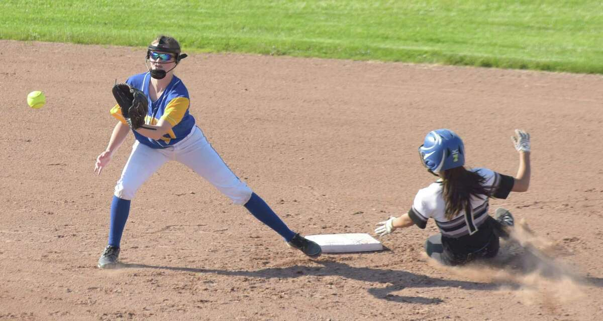 Abby Ota, seen stealing a base for Barlow, is one of the top players for the Junior Brakettes
