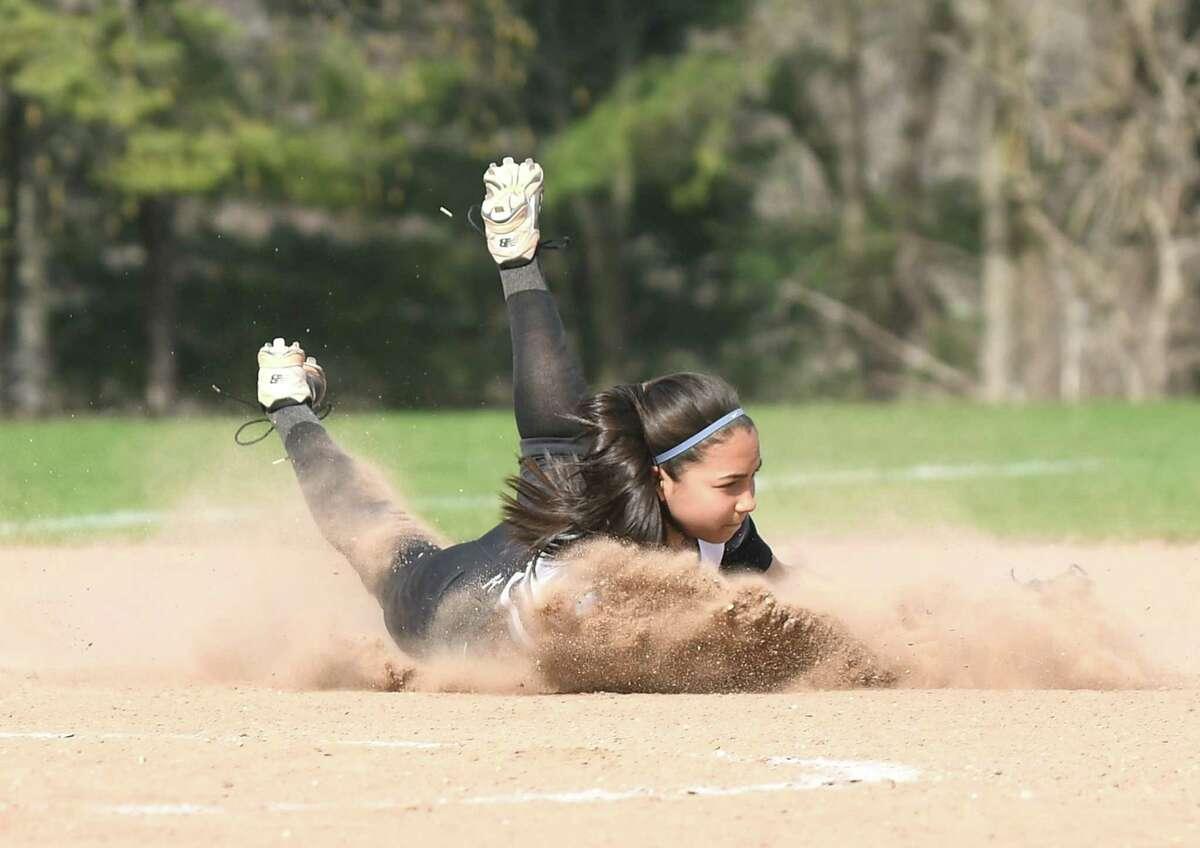 Barlow's Abby Ota fields the ball during the Masuk versus Joel Barlow SWC softball game at Masuk in Monroe, May 2, 2018.