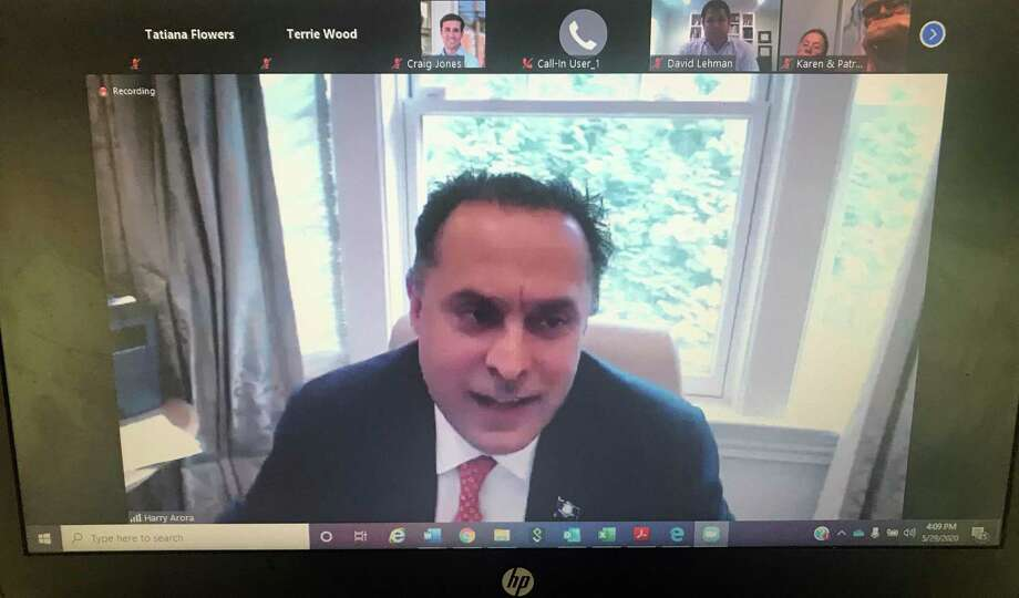 State Rep. Harry Arora leads a community conversation on Friday, which answered questions from community members, as the state continues through the first stage of reopening under the coronavirus crisis. Photo: Screenshot / Tatiana Flowers / Hearst Connecticut Media / Greenwich Time