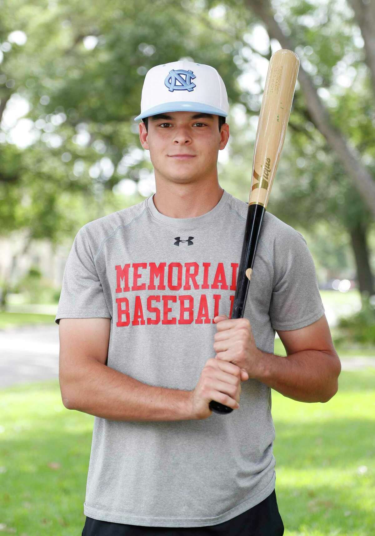 Memorial HS shortstop Jack Riedel, who has spoken to numerous pro scouts and is keeping an open mind as to what could happen in a virus-shortened draft two weeks from now but is trending more toward playing at the University of North Carolina, in Houston, Saturday, May 30, 2020.