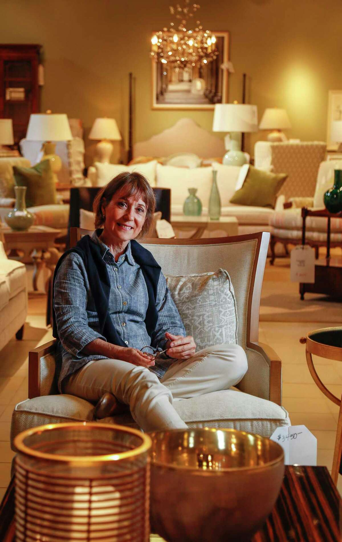 Meredith O'Donnell of Meredith O'Donnell Fine Furniture is closing her Post Oak showroom and moving to a more affordable site in the design district on Old Katy Road, in Houston, Thursday, May 28, 2020.