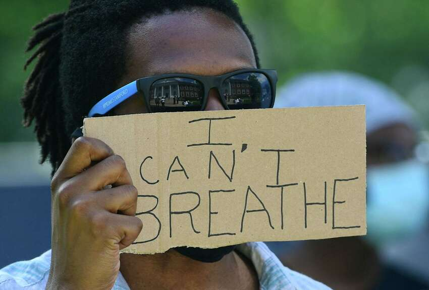 I Can't Breathe Over 100 protesters gather to protest against police brutality and the death of George Floyd Saturday, May 30, 2020, at city hall in Stratford, Conn.