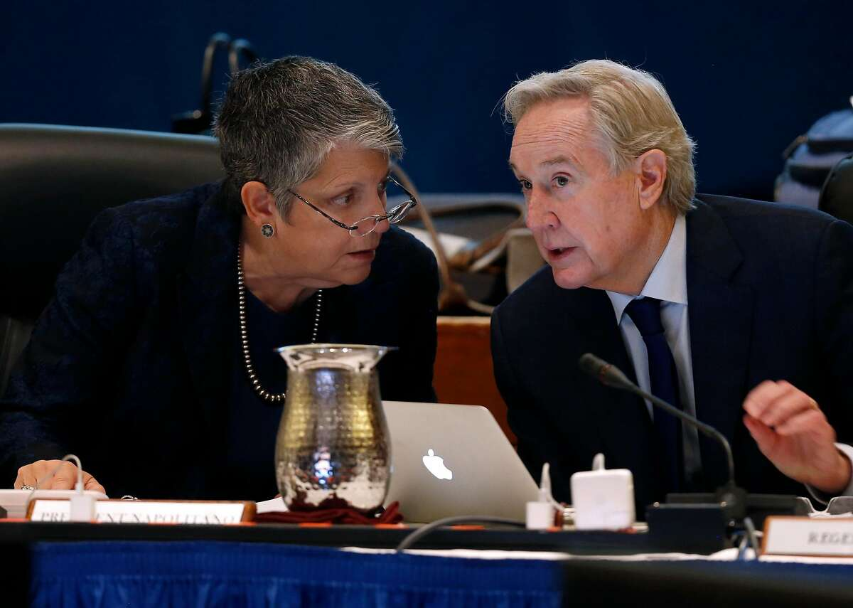 University of California President Janet Napolitano confers with board chairman George Kieffer during a meeting of the UC Board of Regents at the UCSF Mission Bay campus in San Francisco, Calif. on Thursday, Nov. 16, 2017.
