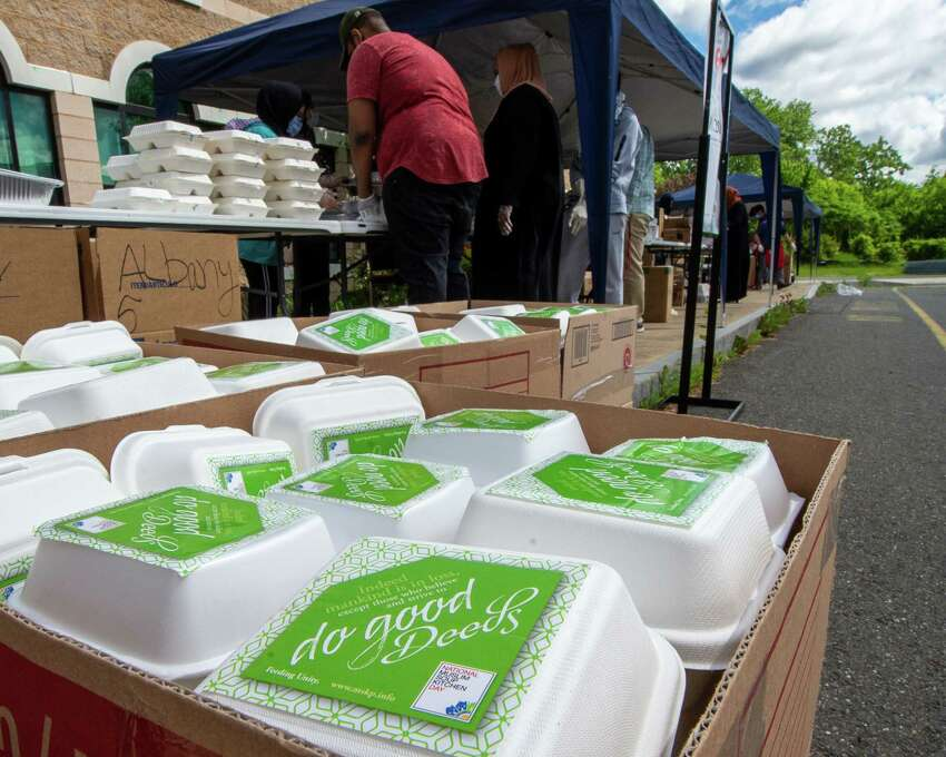 Food is packed at the Al-Hidaya Center in Latham NY for delivery to community service sites during the Fifth National Muslim Soup Kitchen Day on Saturday, May 30, 2020. (Jim Franco/Special to the Times Union.)