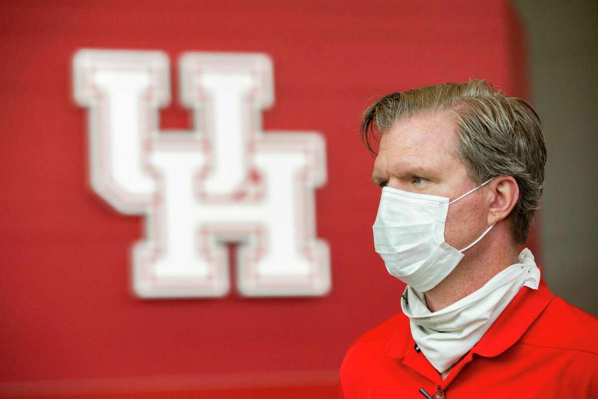 University of Houston senior associate athletics director for capital projects T.J. Meagher wears a protective mask inside the UH Athletic - Alumni Center on Friday, May 29, 2020, in Houston. Protective masks are part of the safety precautions taken to keep the students safe.