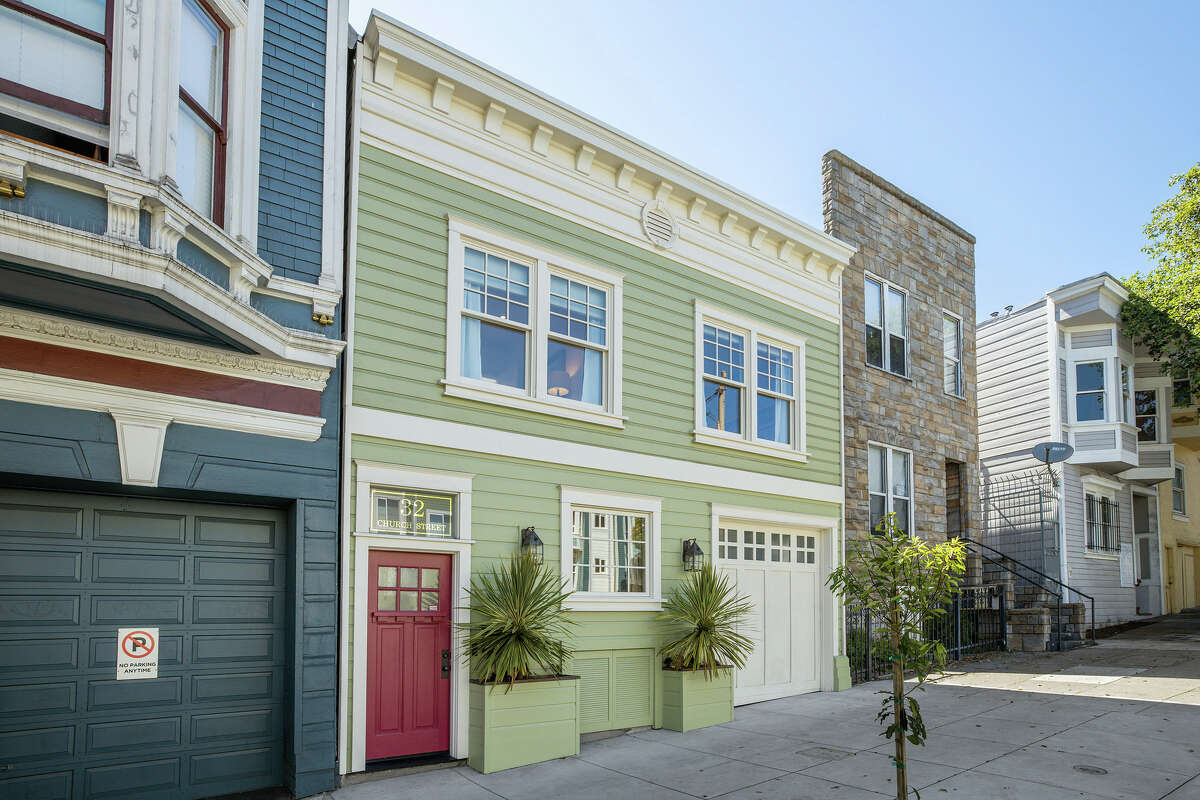 The home is on Church, just a short walk from Duboce Park. It offers two-car parking.