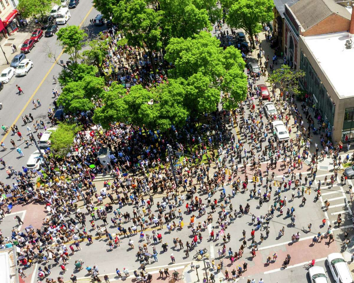 An aerial view of a protest at Townsend Park in Albany, New York on Saturday, May 30, 2020. It was one of many protests across the nation calling for justice in the death of George Floyd at the hands of Minneapolis police officers and other black people who suffered the same fate (Jim Franco/Special to the Times Union.)