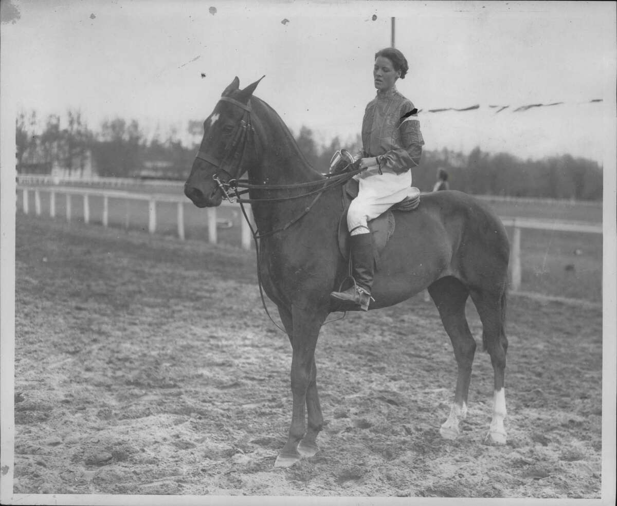 Miss Anne Skinner of Albany, winner of the Interclass Derby for freshmen, the climax of the Spring Horse Show, sponsored by Skidmore College students at the Saratoga Race Track in Saratoga Springs, New York. Skinner won fourth place in the Form Class. May 31, 1935 (H.B. Settle/Times Union Archive)