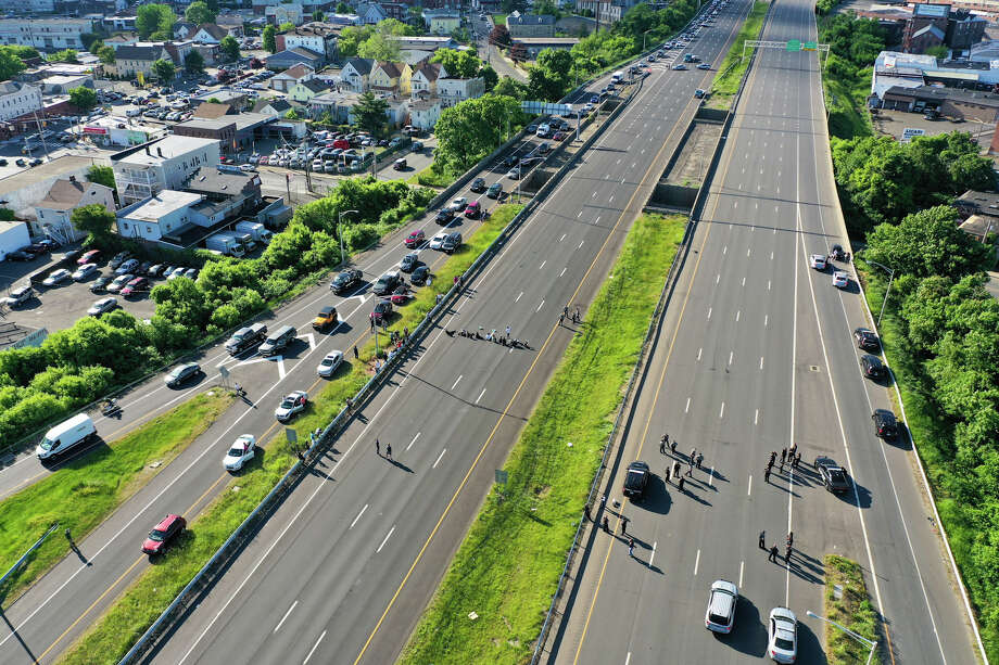 Drone photo of the protest on Route 8 in Bridgeport. Photo: Patrick Sikes For Hearst Connecticut Media